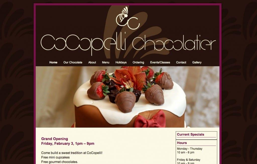 CoCopelli Chocolatier website